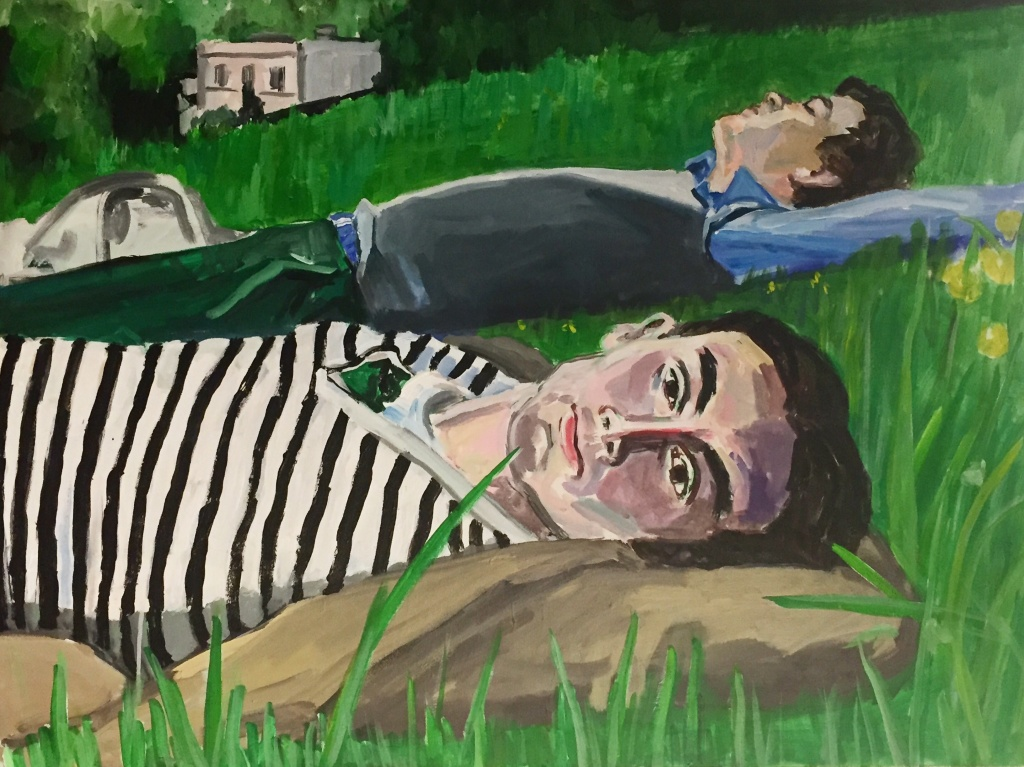 Andrew and Aloysius in (Brideshead afternoon); acrylic on canvas, 30X40, 2017
