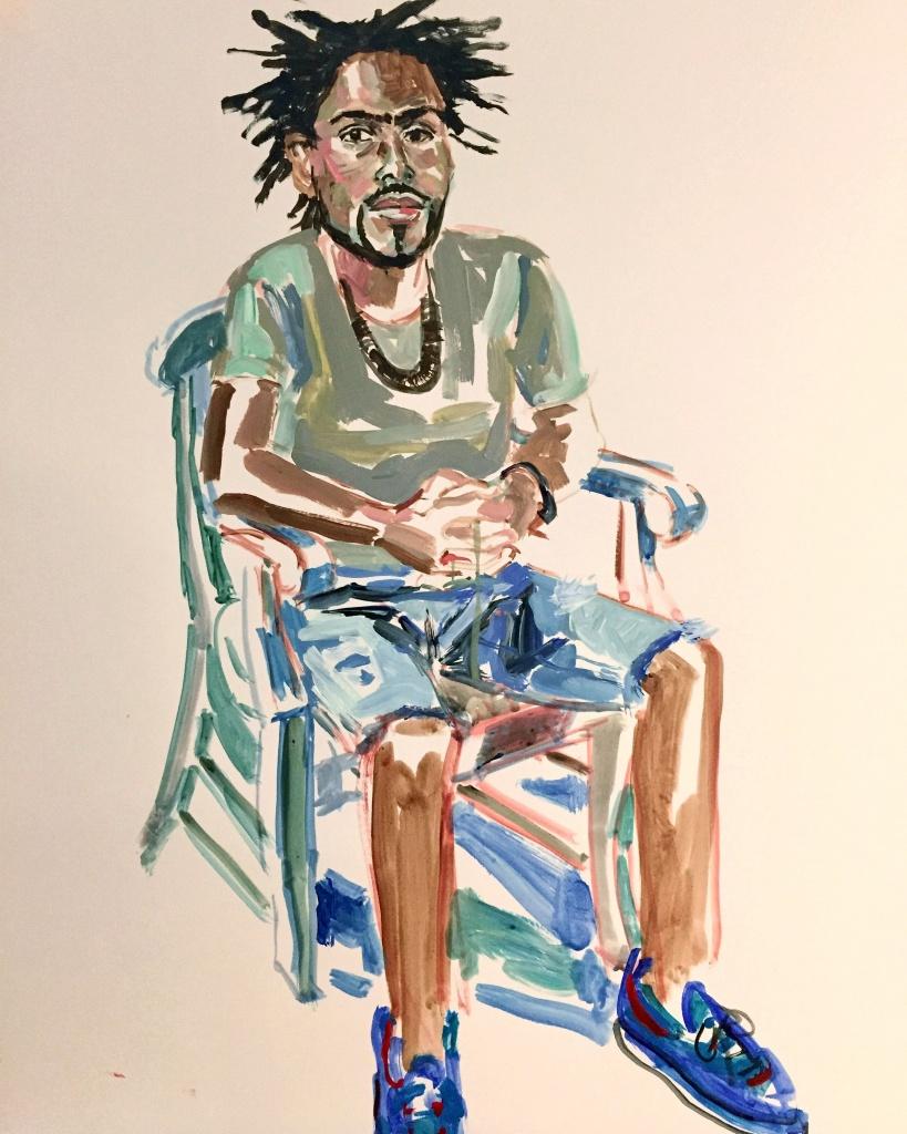 Buloya; acrylic on paper 18X24, 2016