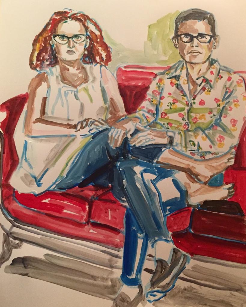 Dwora & Jehan; acrylic on paper 19X24, 2016