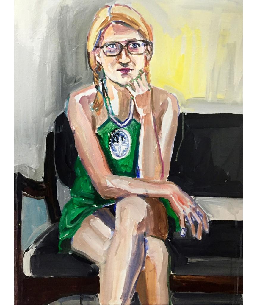 Jessika 2; acrylic on canvas, 22X28, 2017