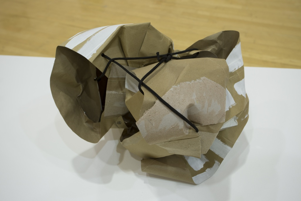 J. Perse view 2 ; Paperbag, paint, resin, 15X17X14