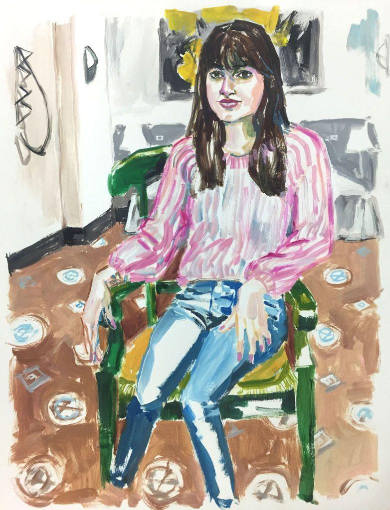 Melanie, acrylic on paper, 19X24, 2019