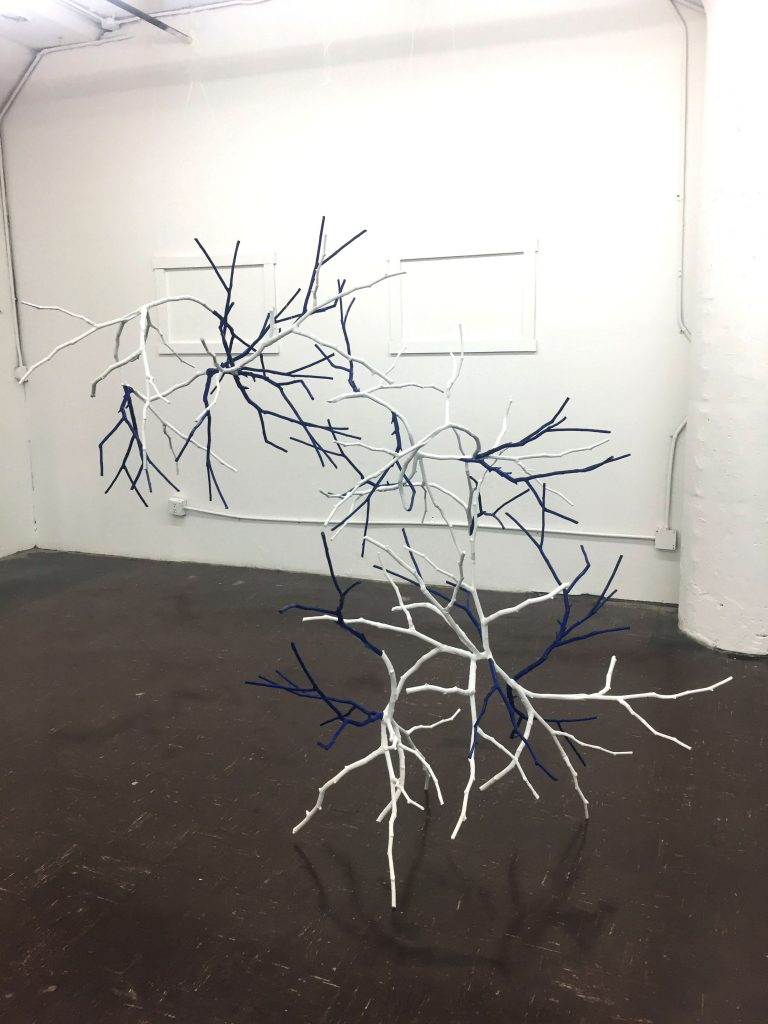 Time Takes Time Out View2; Two aluminum cast branches, paint