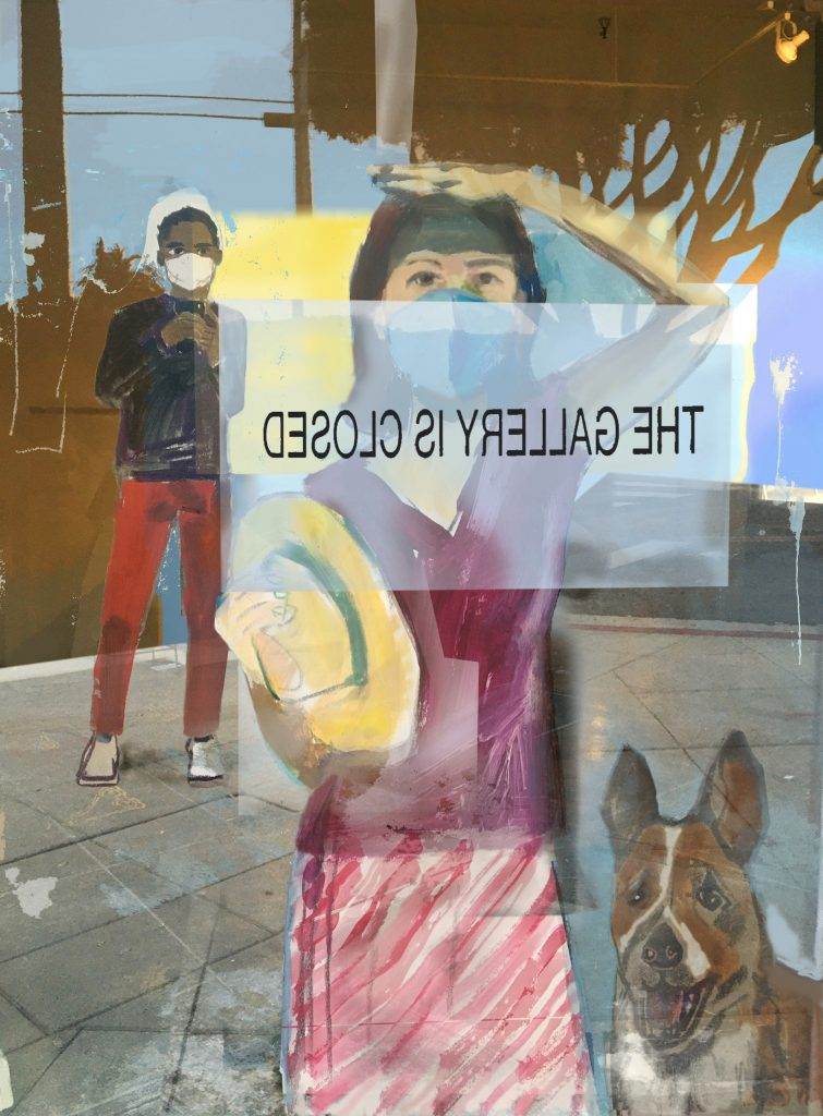 Looking Out Looking In (The Gallery Is Closed) acrylic on canvas and photo collage, 36X48,2020