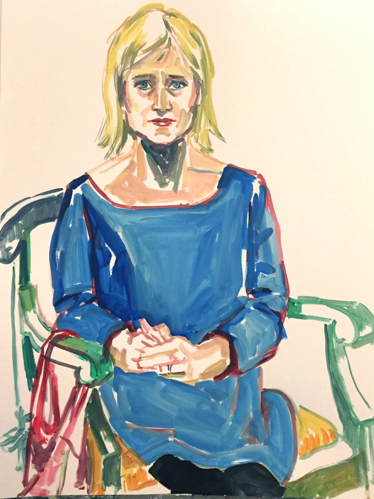 Laura Parker 1; acrylic on paper 18X24, 2017