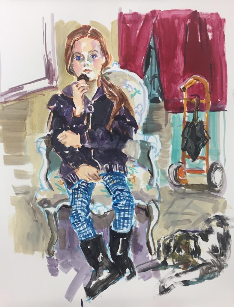 Lila; acrylic on canvas, 18X24