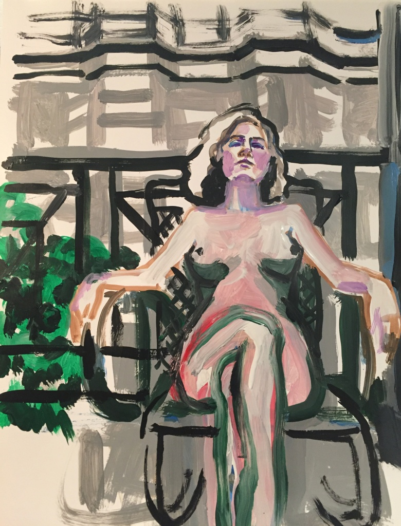 Nude On Balcony, acrylic on paper, 19X24, 2016