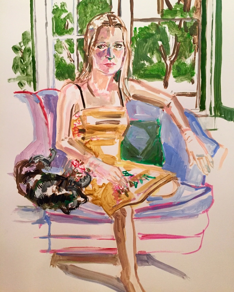 Shelli 2; acrylic on paper 18X24, 2018