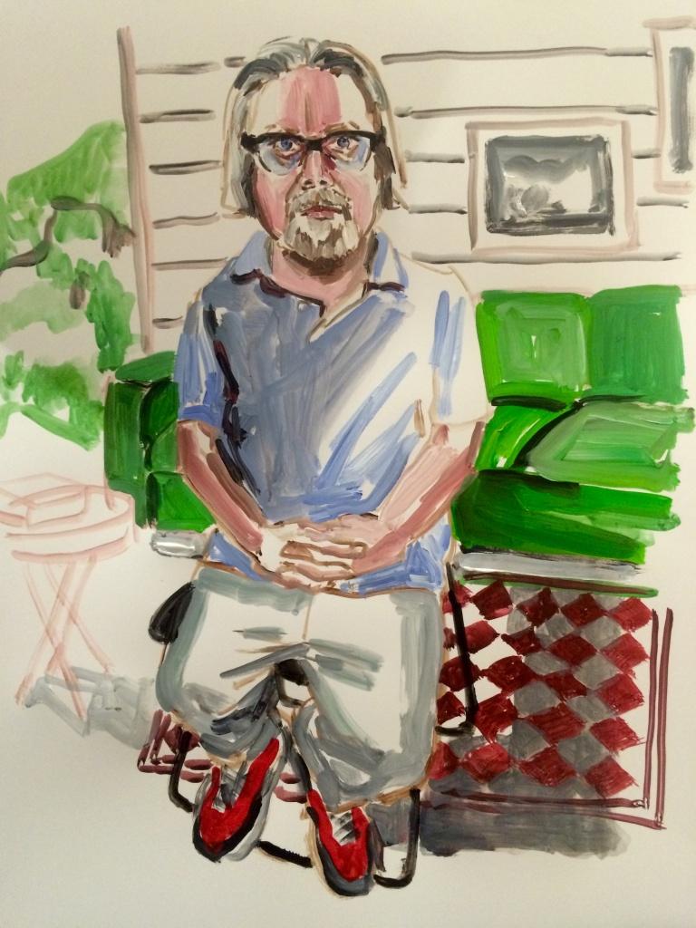 Steve Hurd 1; acrylic on paper 18X24, 2015