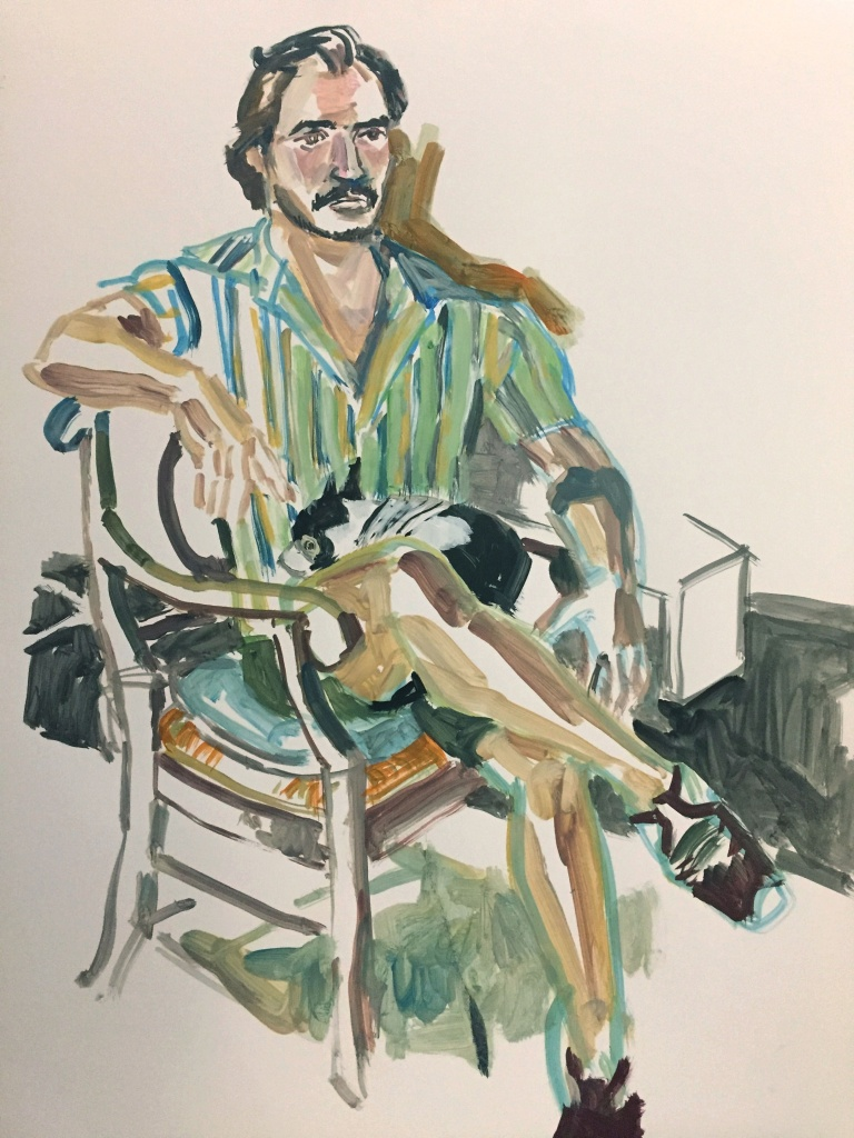 Thomas 1; acrylic on paper 18X24, 2017