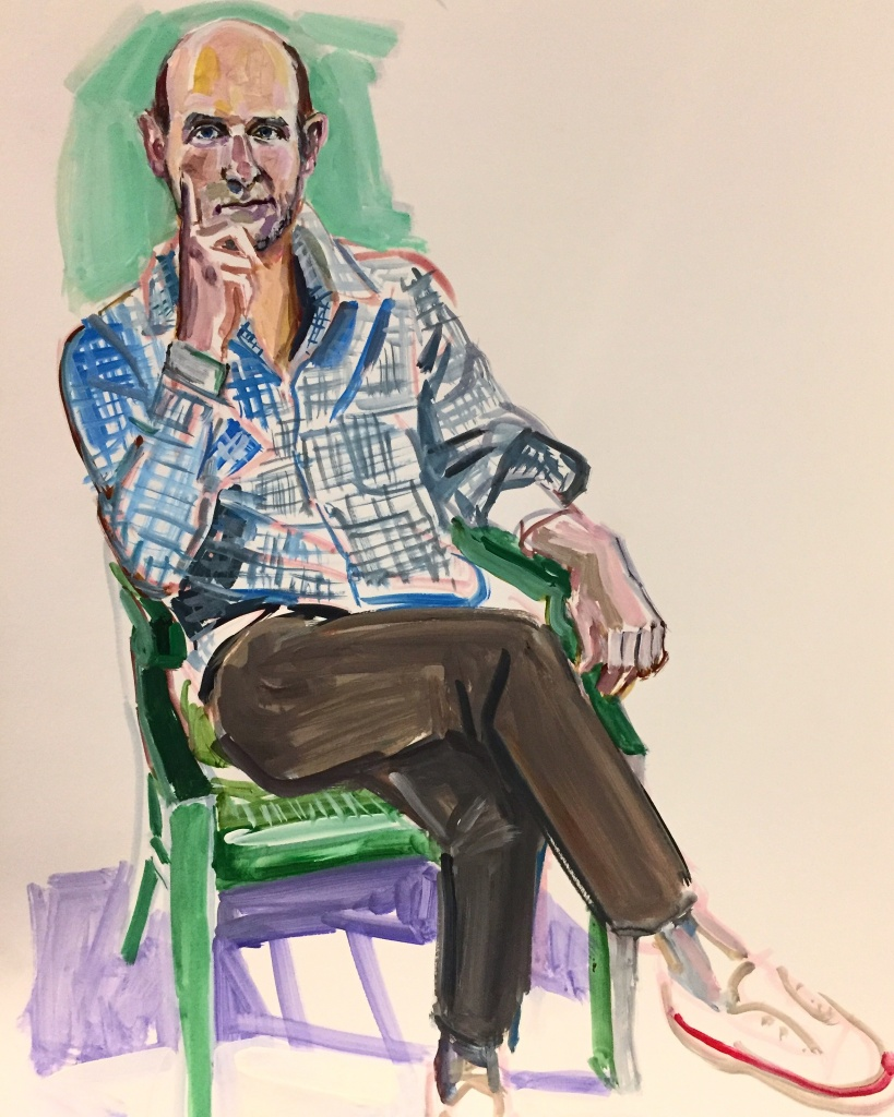 Todd 2; acrylic on paper 18X24, 2017