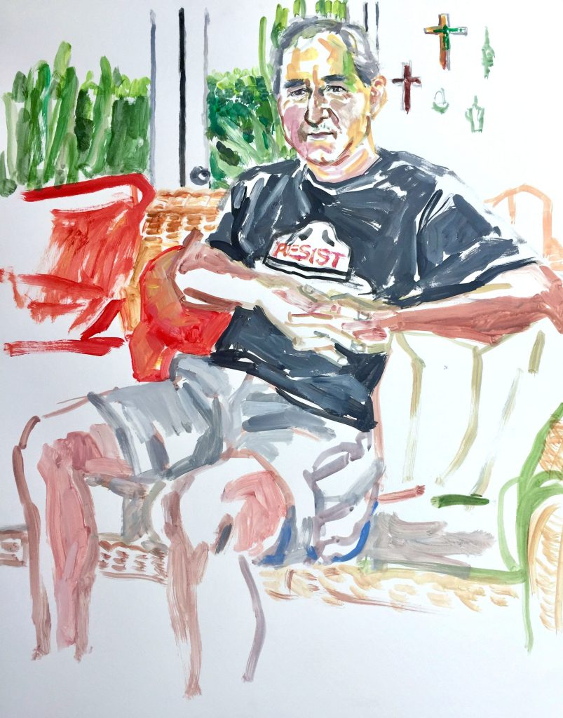 Greg, acrylic on paper, 19X24, 2018