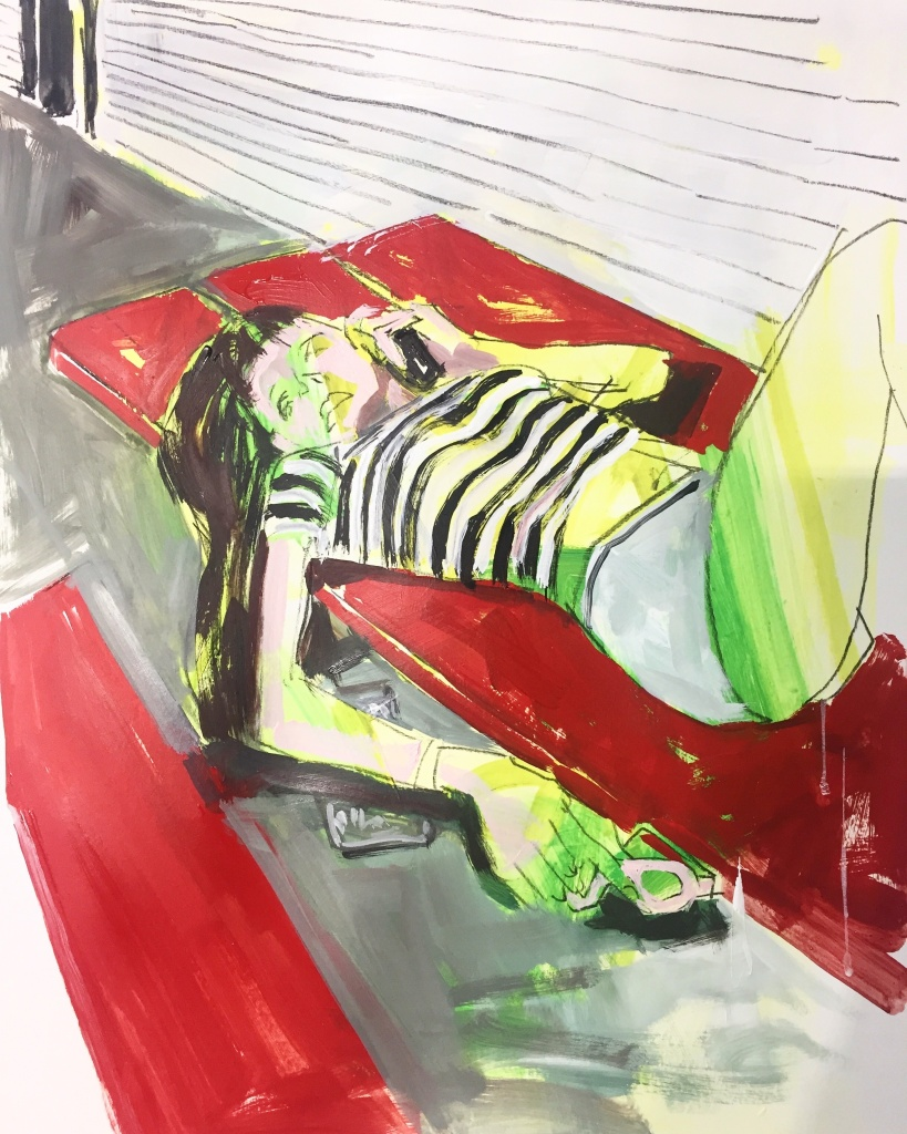 Tanning on Picnic Table, acrylic, pencil on paper, 18X24, 2019