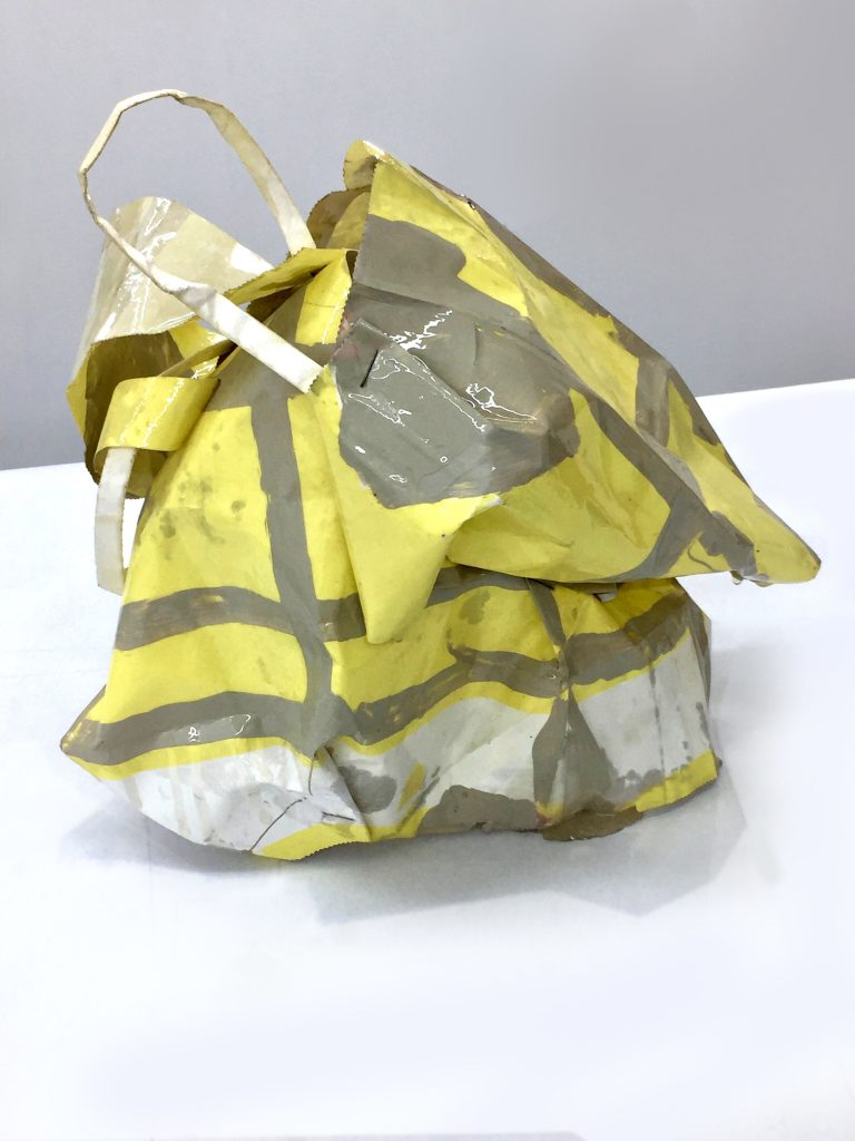 yellow dress 1, paper bag, paint, resin; 12X8X11, 2016