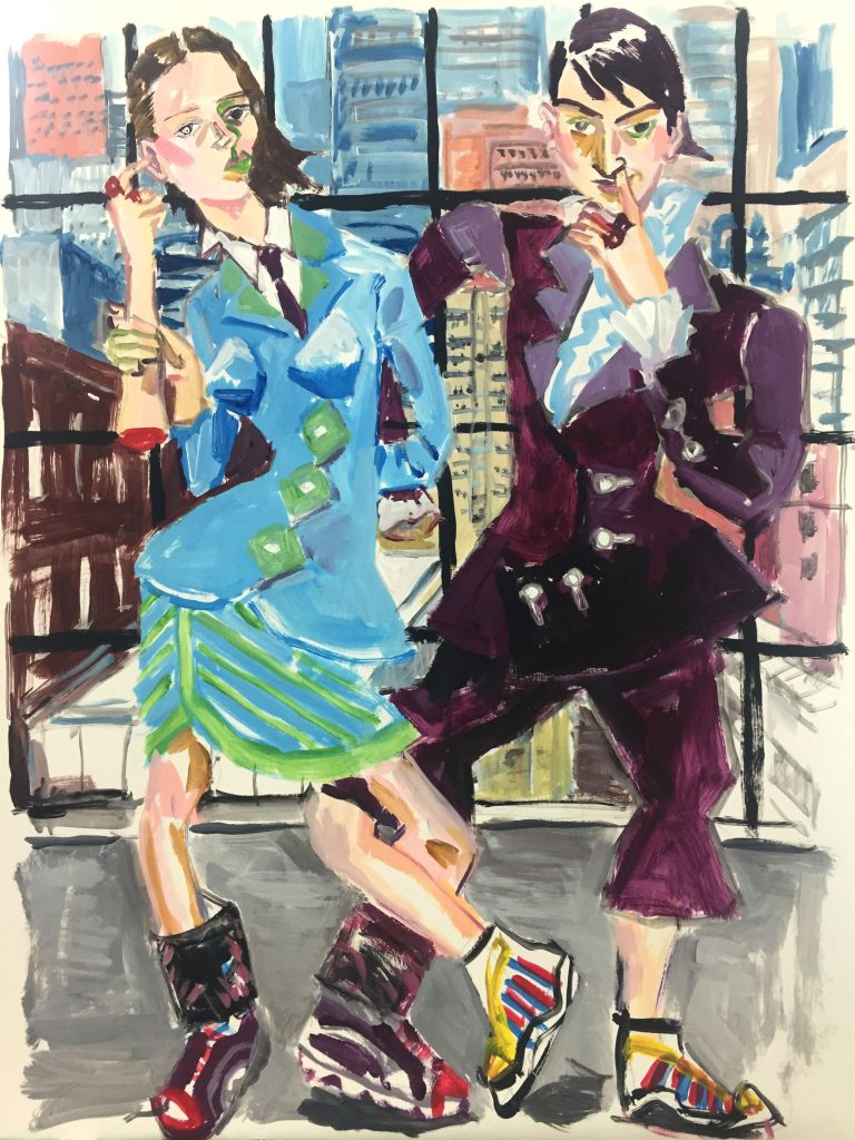 """Deux Mannequins, 19X24, acrylic on paper, 19""""X24"""""""