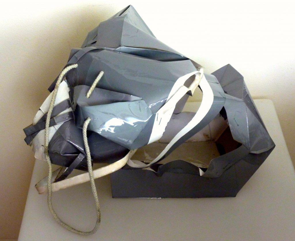 Kelian1, paper bag, acrylic paint, resin, 2015