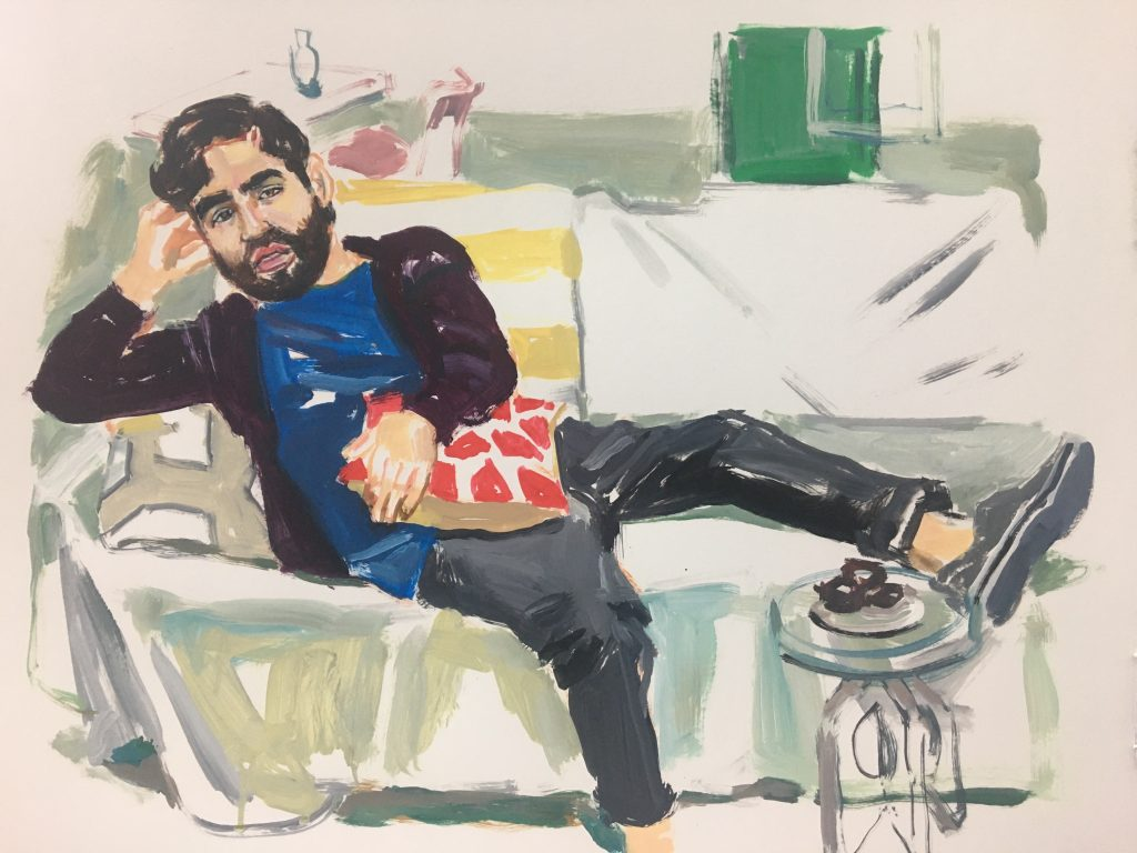 Nick Aguayo, 19X24 acrylic on paper, 2019