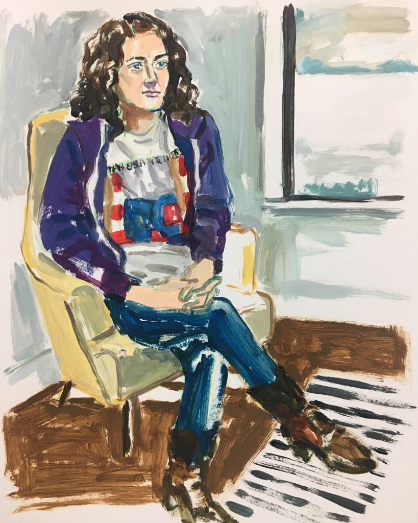 Alice, acrylic on paper, 19X24, 2020
