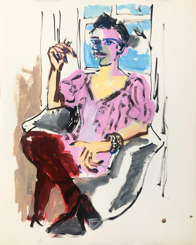 Lara smoking in pink dress and red stockings, 24X19, acrylic oil stick on paper, 2020