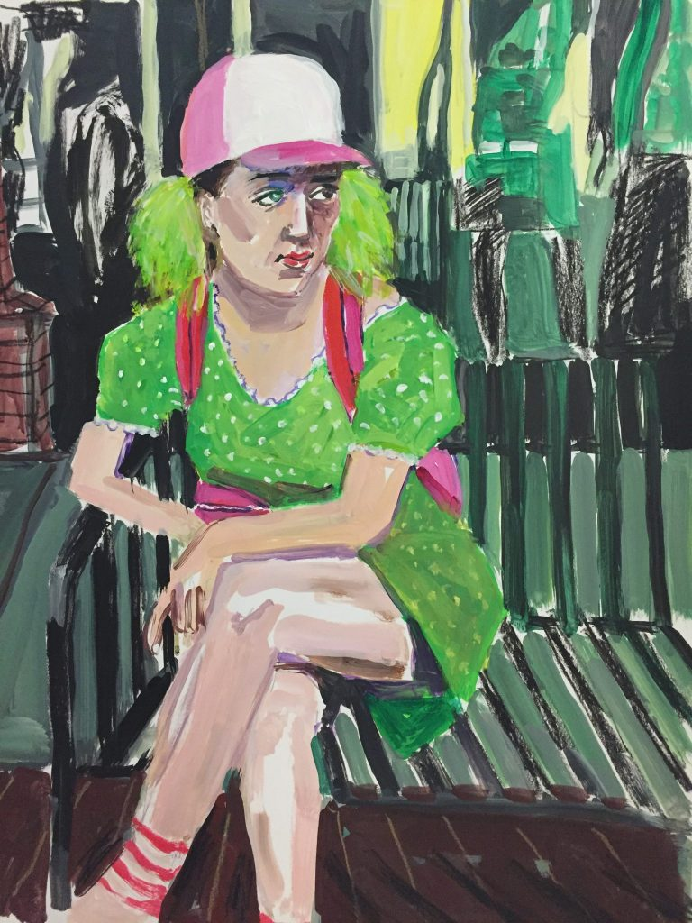Tourist Girl In Tokyo Acrylic On Paper 19X24