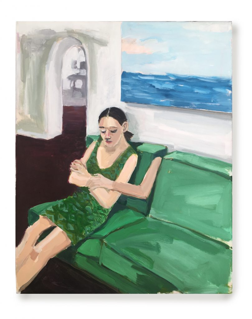 Girl on Green Sofa