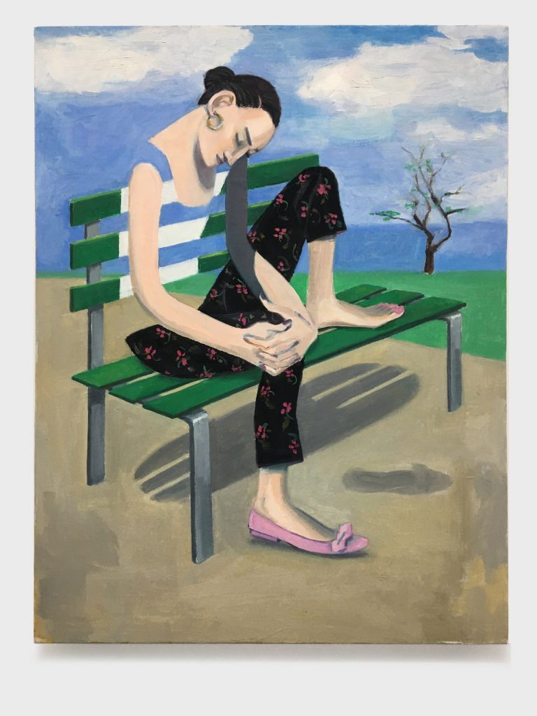 Girl On A Park Bench, 2020, oil on canvas, 18X24
