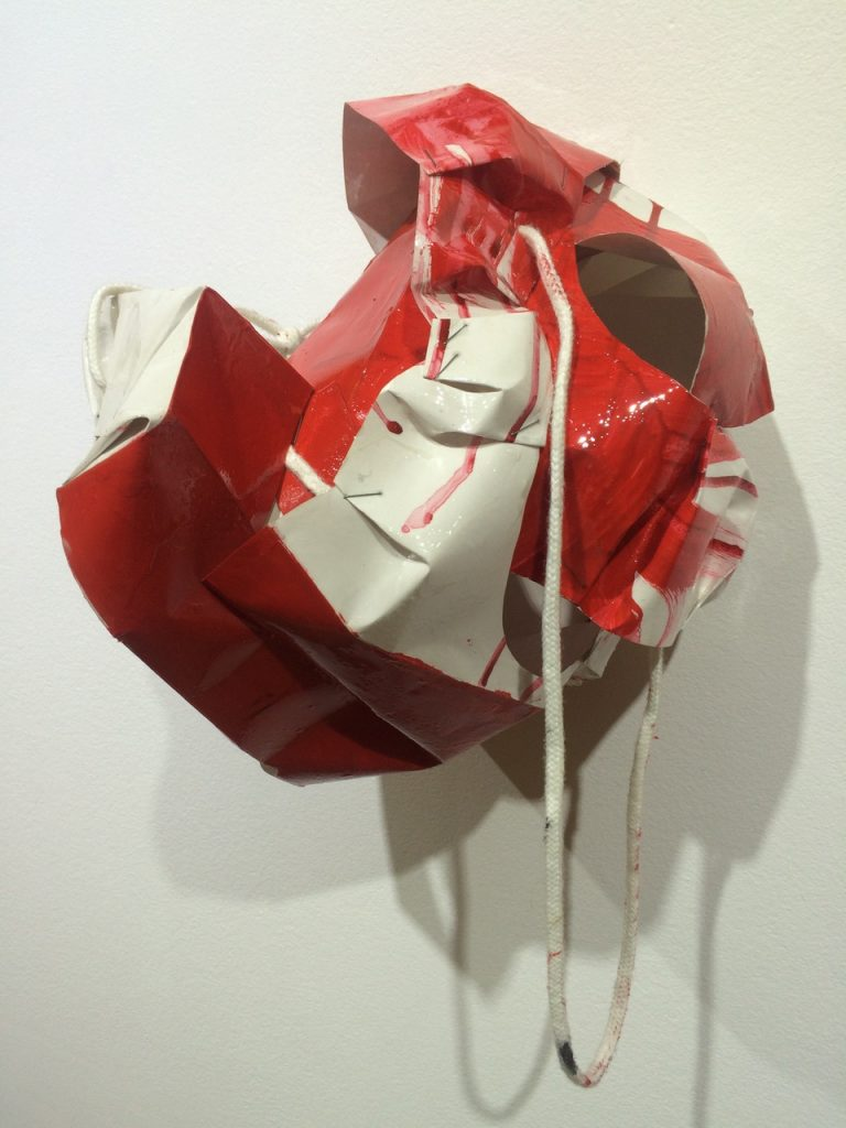 Red Riding Hoodie, 2018, acrylic and resin on paperbag