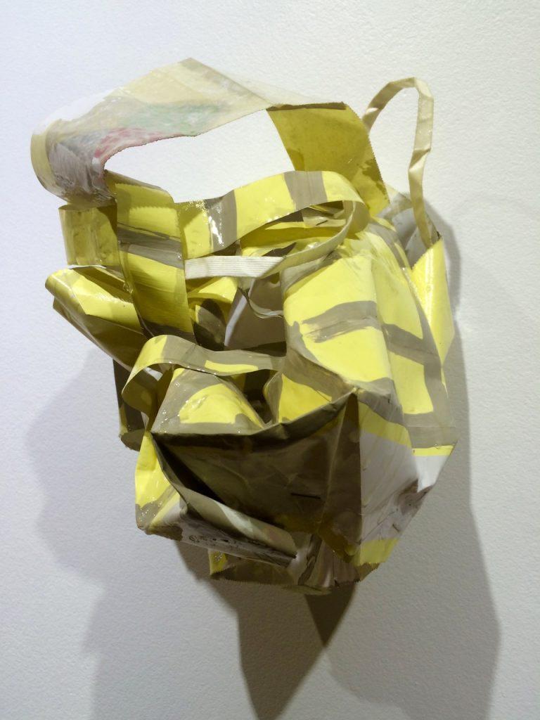 Yellow Mini-dress, 2017, acrylic and resin on paperbag