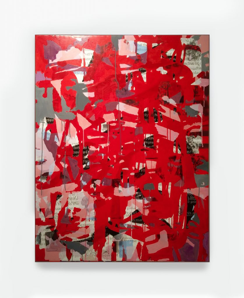Rose Is Red In The Dark Too, 36X46, acrylic and inkjet print on canvas, 2015